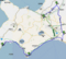 札幌から北海道迂回路対決起点へ向かう際の予定経路(いわゆるお散歩)