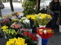 おじいさんが花を買っていた。