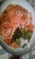 昼はうどん。この麺は前橋で勝ち土産として買った水沢うどん