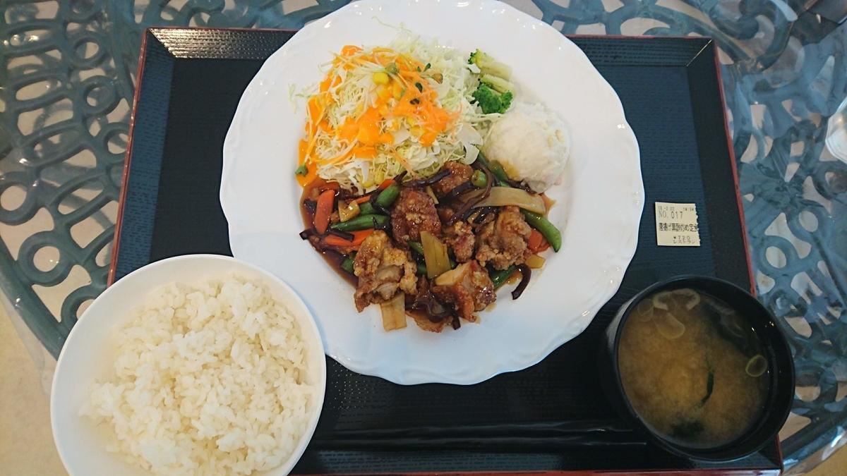 高崎総合医療センターの唐揚げ黒酢炒め定食