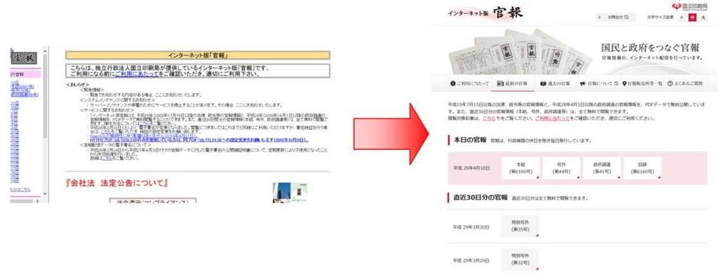 インターネット版官報、官報情報検索サービスのページをリニューアルしました。
