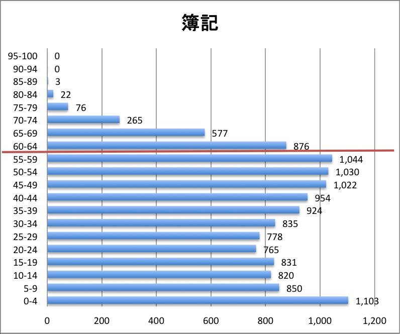 科目別分布グラフ 簿記論