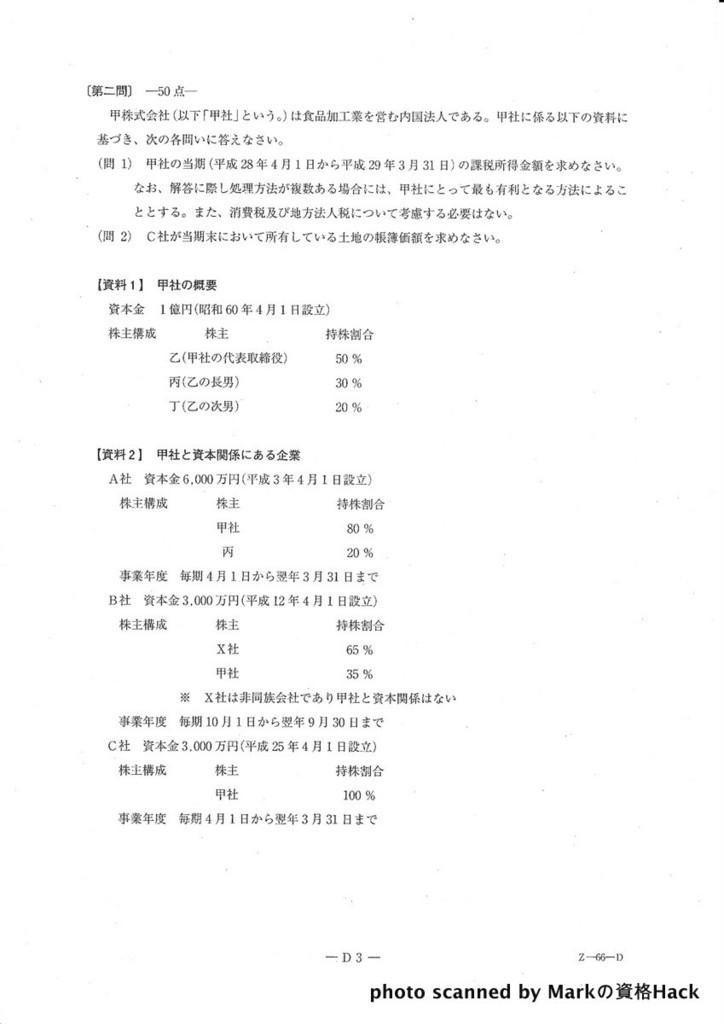 税理士試験過去問題 平成28年度(第66回) 法人税法