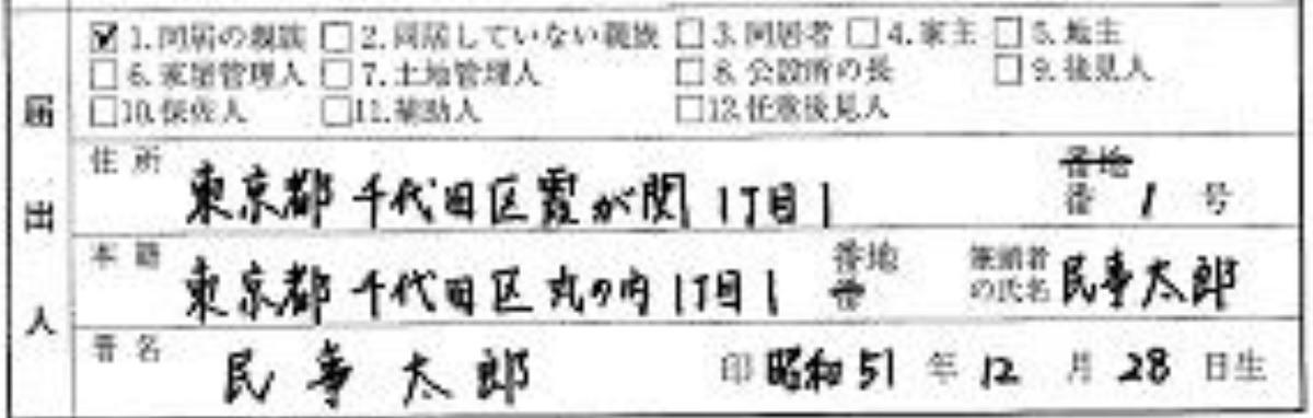 届出人の住所・本籍の記入