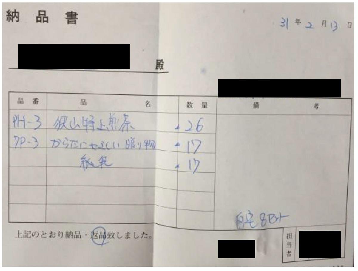 返礼品の返品の証明書
