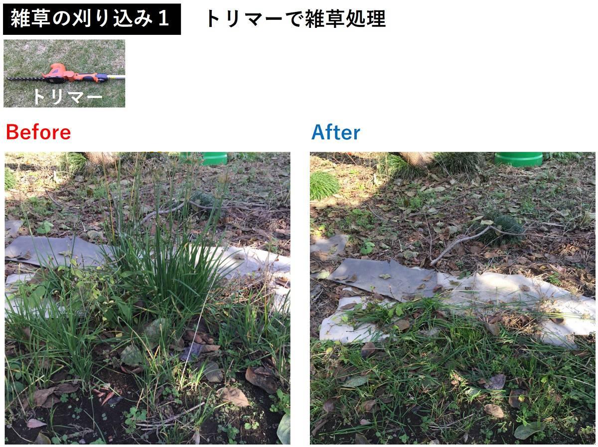 トリマーでの雑草の除去