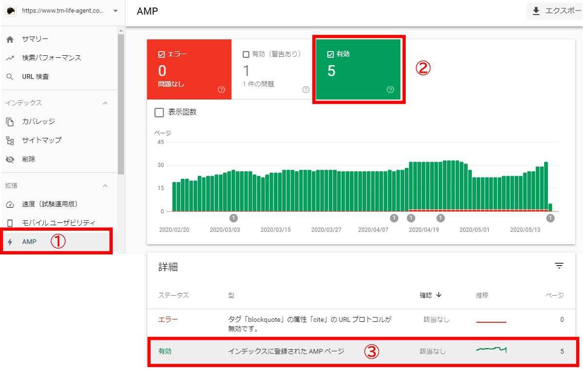 インデックス登録されたAMPページの確認方法