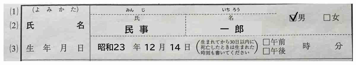 故人の氏名・生年月日の記入