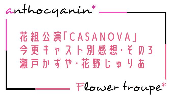 CASANOVAキャスト別感想(瀬戸かずや・花野じゅりあ)