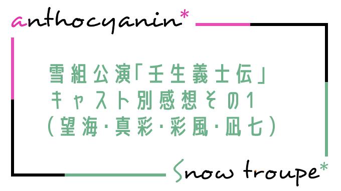 キャスト別感想その1(望海・真彩・彩風・凪七)