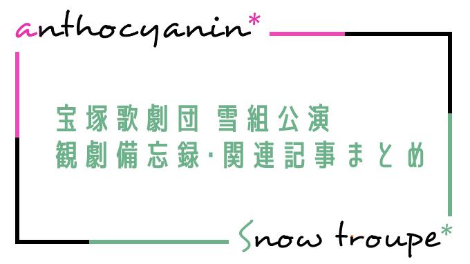 宝塚歌劇団 雪組公演 観劇備忘録