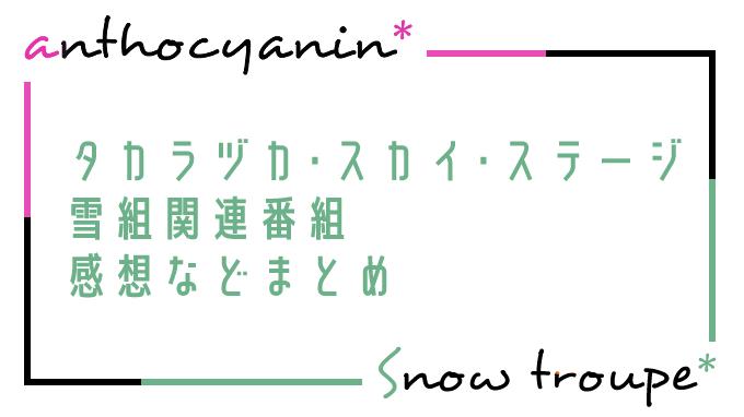 タカラヅカ・スカイ・ステージ雪組まとめ