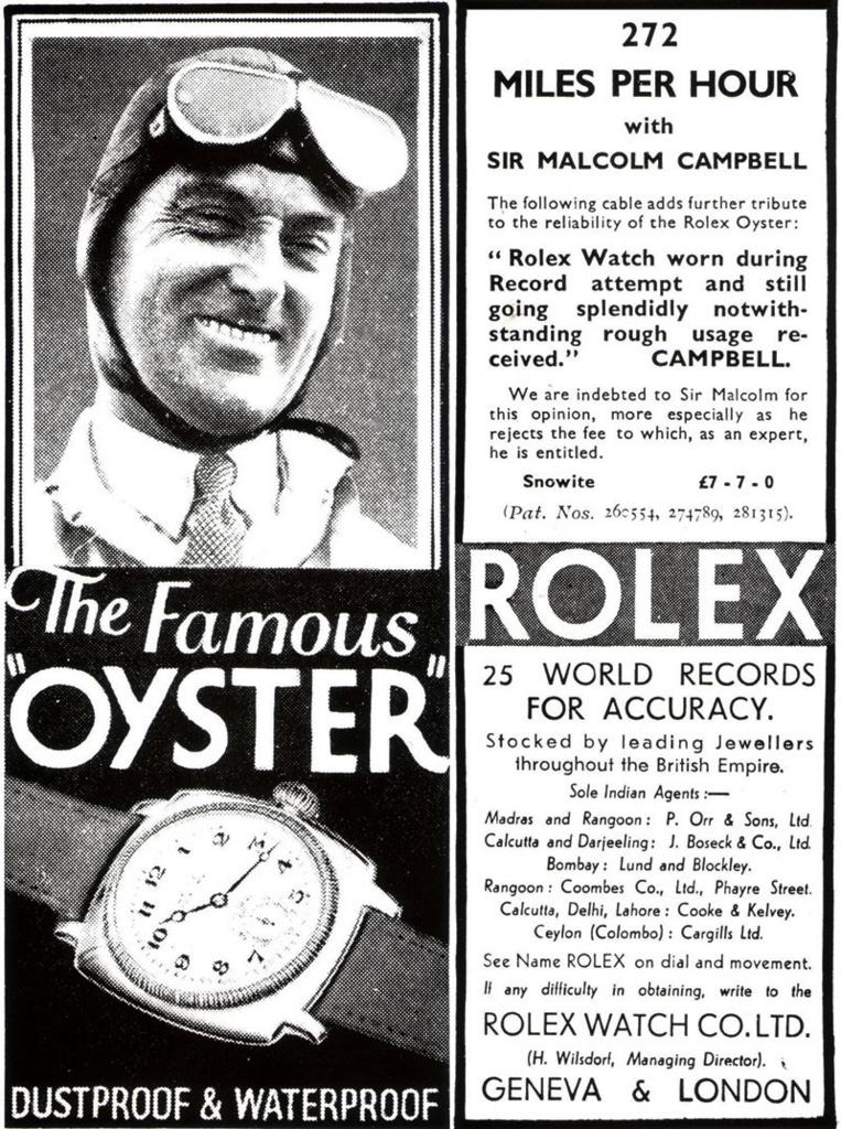 マルコム・キャンベル卿が毎時272マイルを樹立した際のロレックスの広告