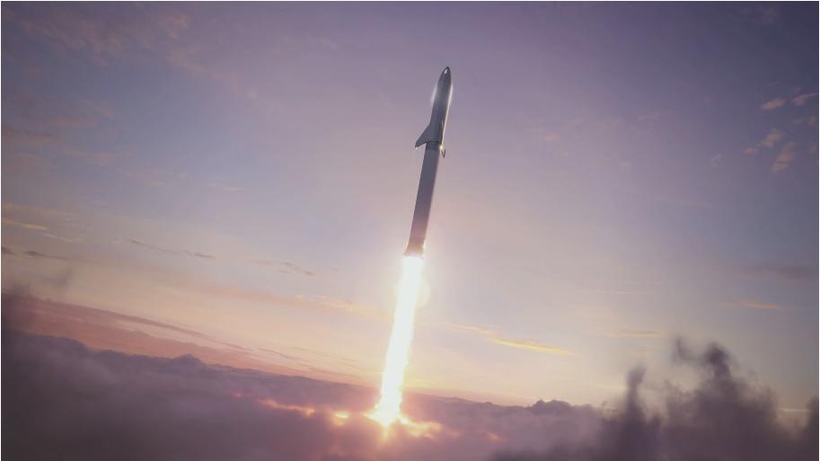 発射する宇宙船BFR
