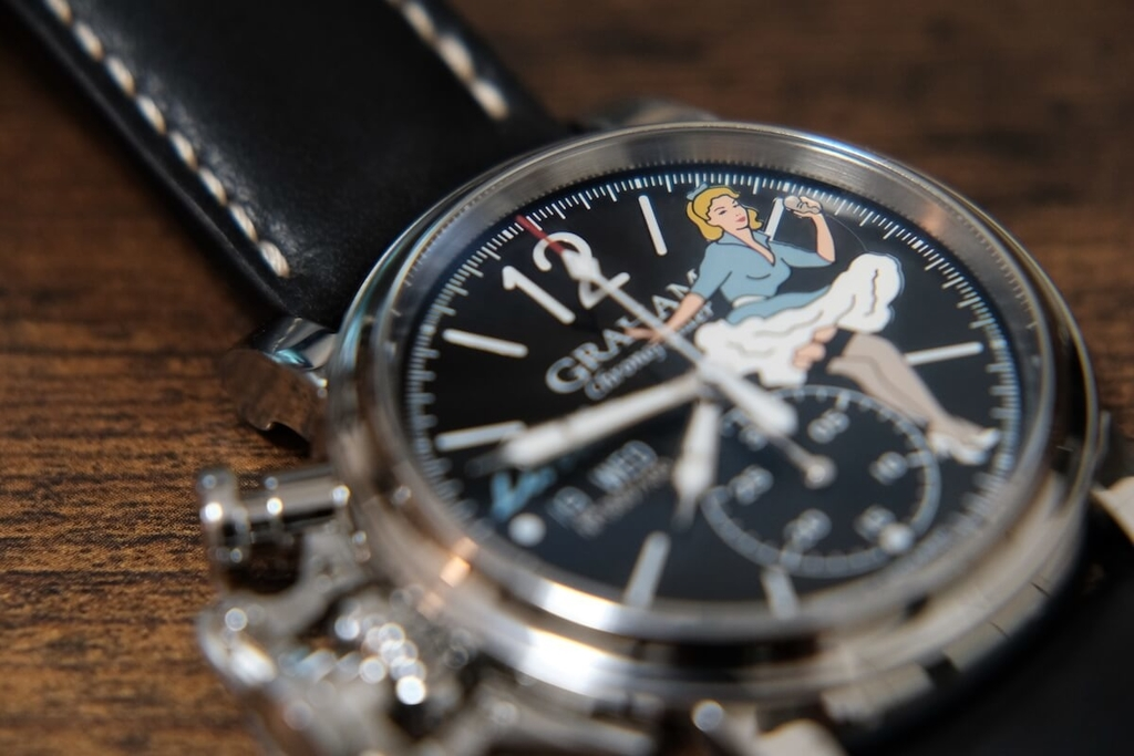 Graham Chronofighter Vintage Noseart Linda dial