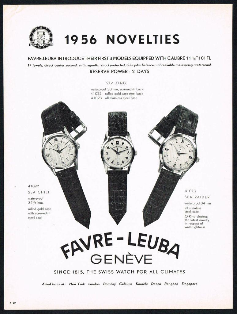1956年のファーブル・ルーバの広告