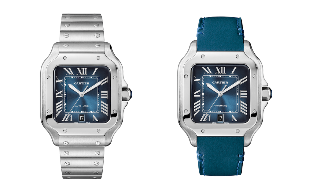 Cartier Santos Blue Dial with bracelet and leather strap