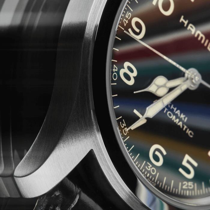 Eurekaとモールス信号がプリントされたハミルトン カーキ フィールド マーフ オートの秒針