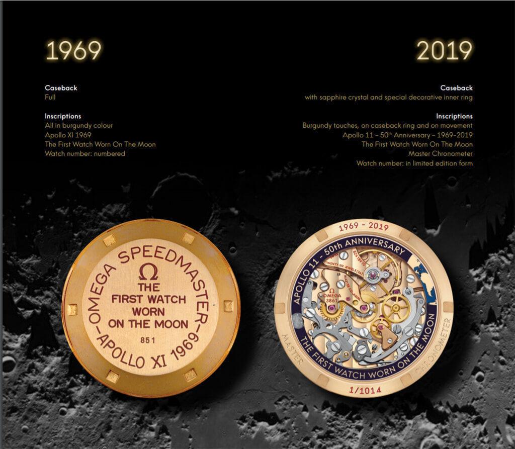 オメガ スピードマスター BA145.0220と310.60.42.50.99.001のケースバックの比較画像
