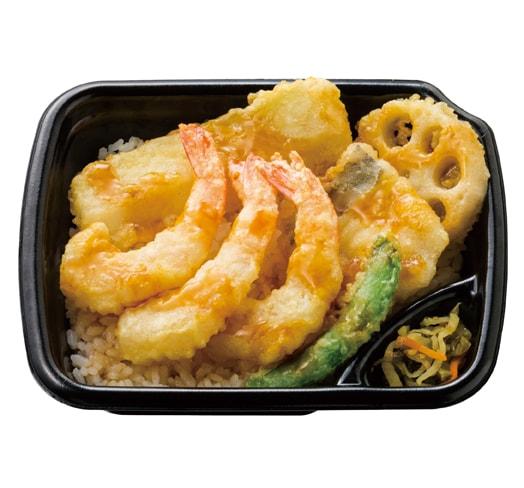 やわらかな白身魚とえびと野菜のバランスの取れた天丼です。