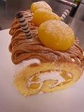 ロールケーキでモンブラン