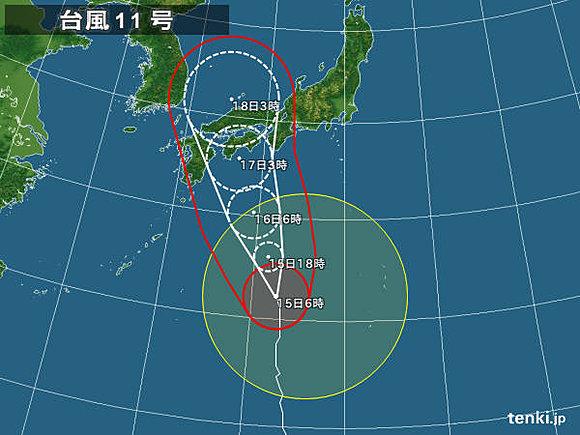 日本列島台風の軌道