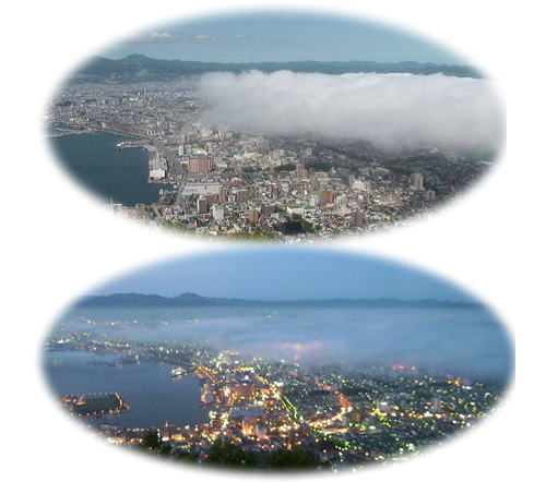 霧がかかった函館の街