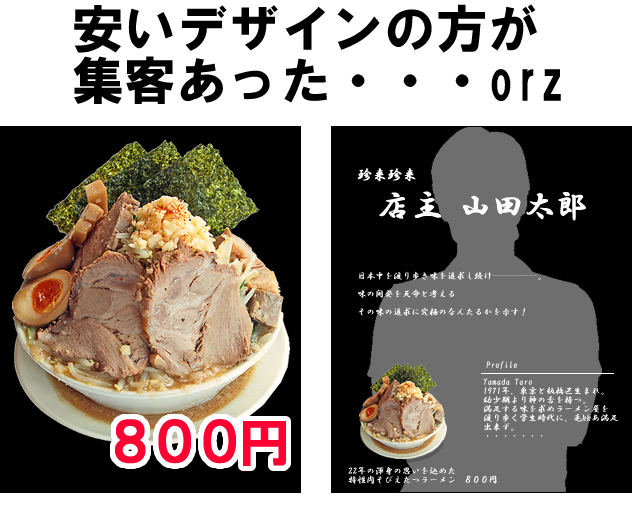 ラーメン800円のPOP
