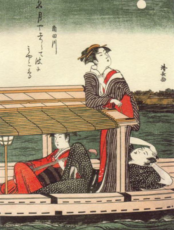 屋形船に乗る深川芸者達