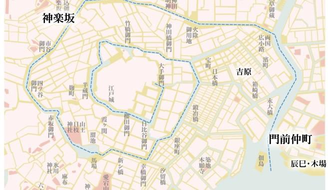江戸時代の門前仲町から神楽坂の道筋