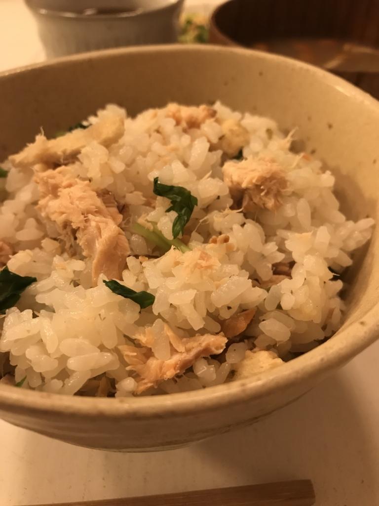 松茸のお吸い物の素を使った鮭の炊き込みご飯
