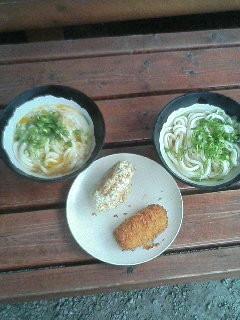 山越うどん かまたま・かけうどん ジャガイモ天ぷら+コロッケ 450