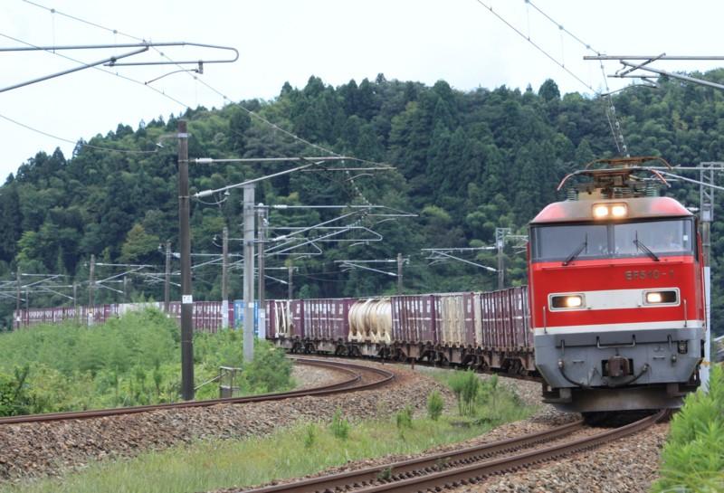 北陸本線 下り貨物列車 EF510-1@津幡~倶利伽羅