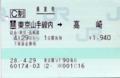 乗車券 東京山手線内⇒高崎