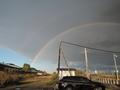 虹がきれいに出てました@石狩金沢駅