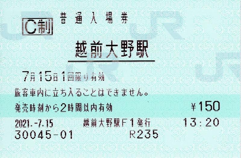 越前大野駅 普通入場券