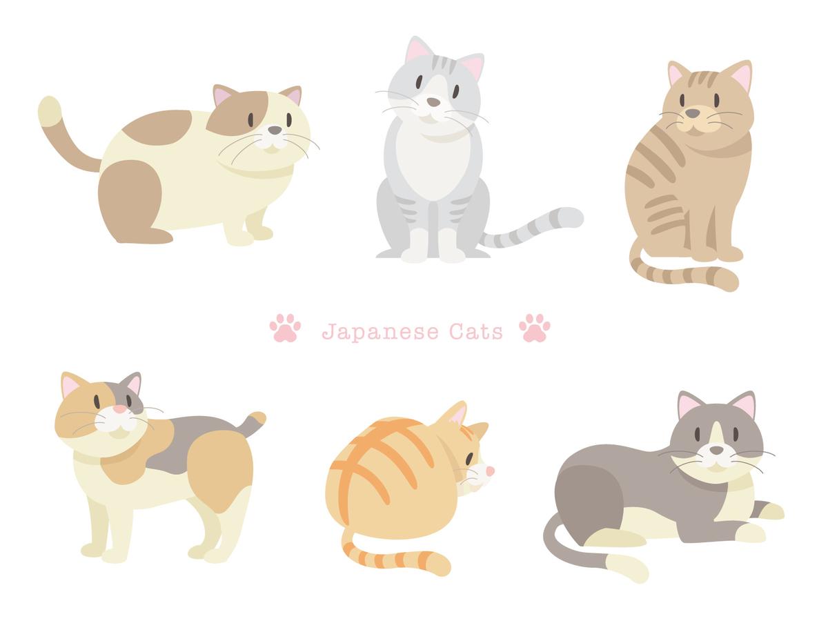 猫のイラスト,6匹,白いねこねこ作