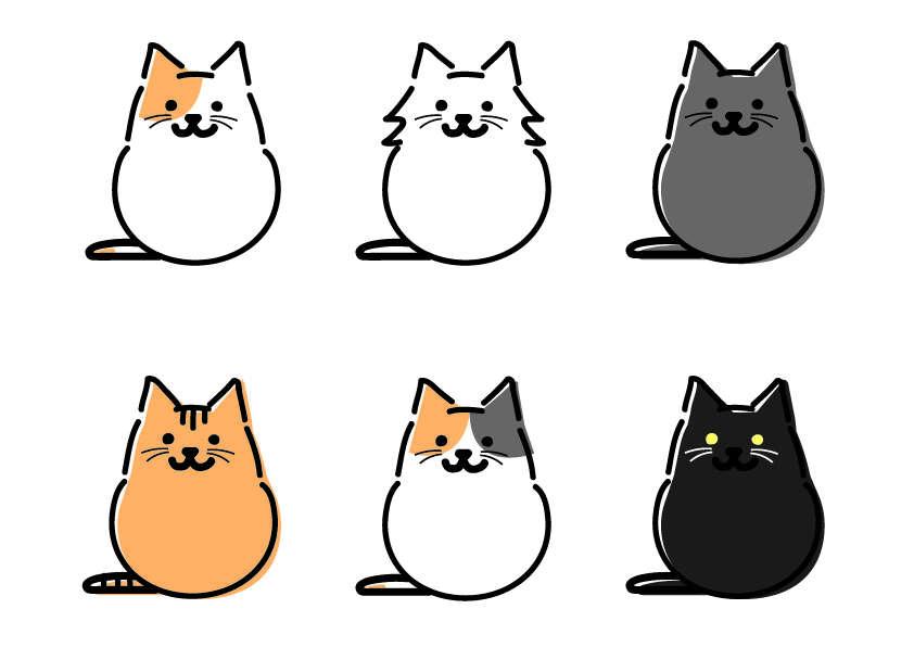 猫,イラスト,さっぴーさん作