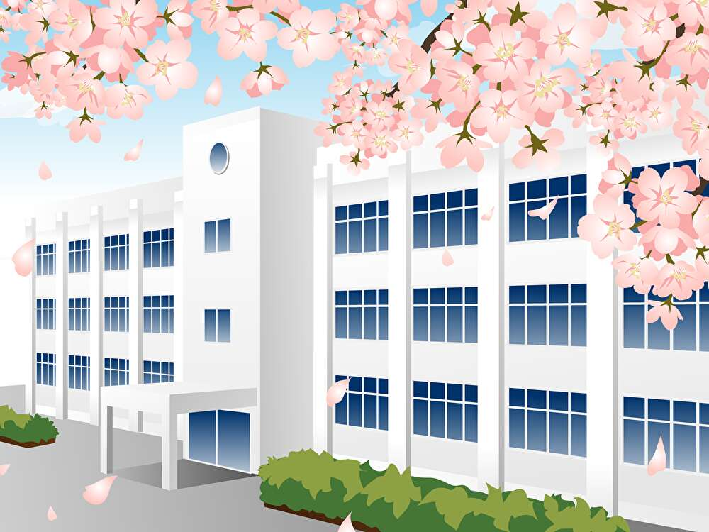 桜,校舎,卒業式