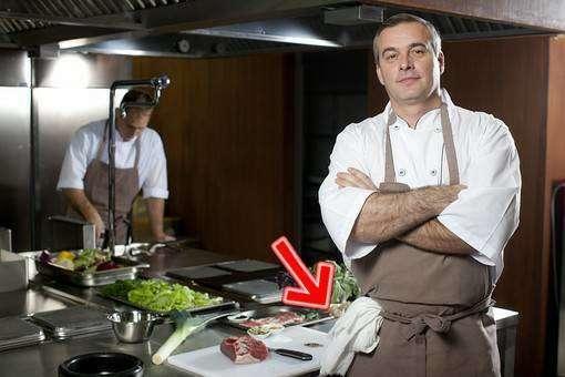 腕を組む料理人