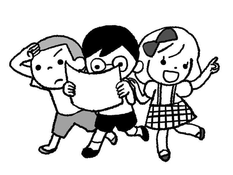 宝探しをする子供たち