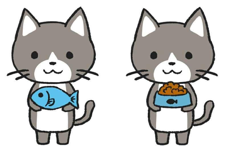 魚を持つ猫と肉を持つ猫