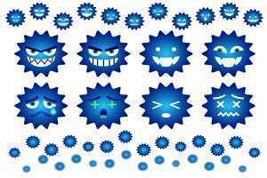 青いばい菌のイラスト