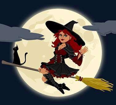 ほうきに乗った魔女と黒猫