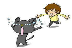 逃げる猫と追う人間