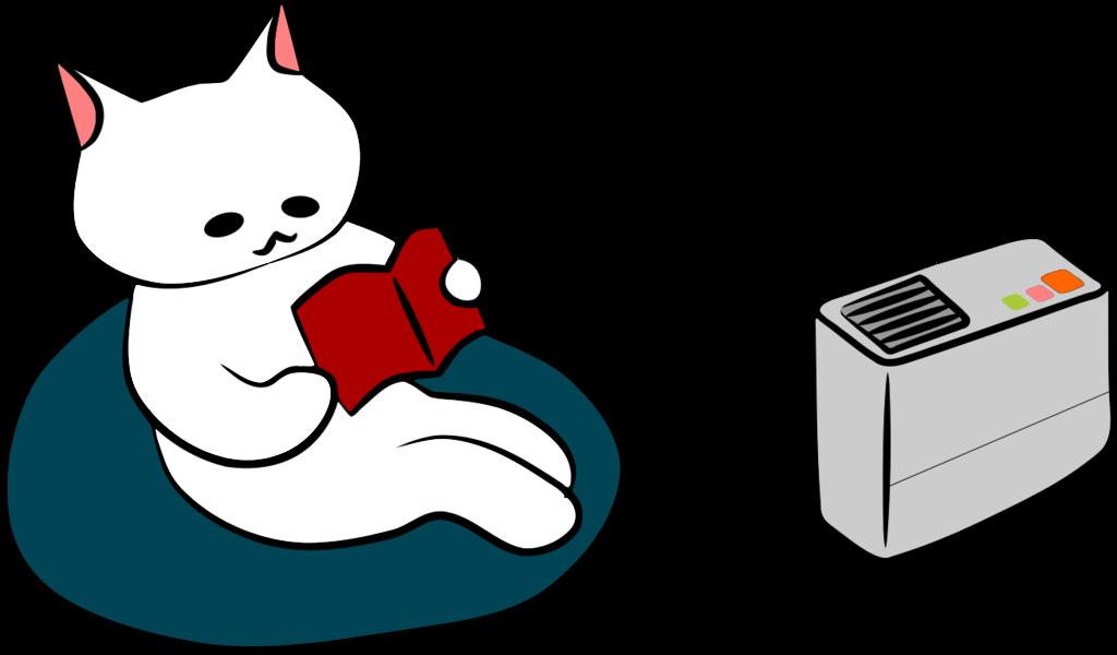 加湿器と猫のイラスト