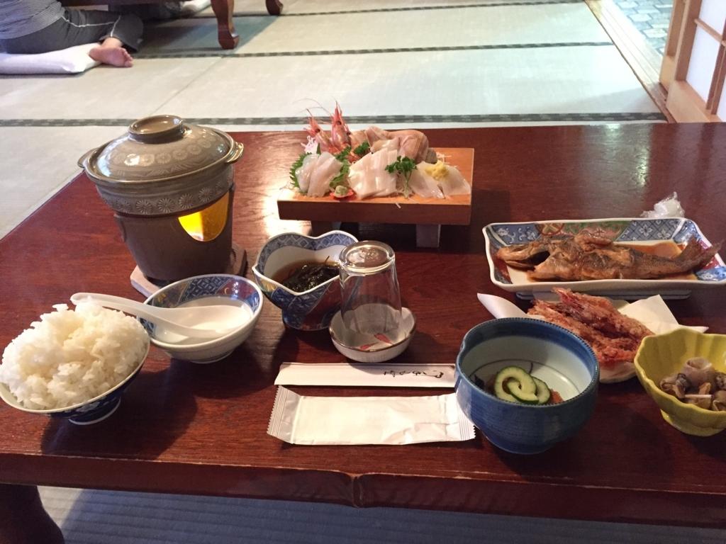 竜泊温泉旅館の魚介料理