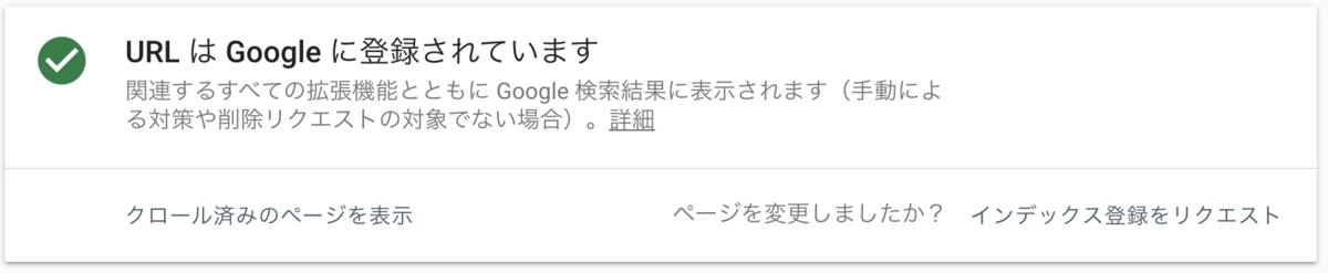 URL検査の結果(INDEX済み)