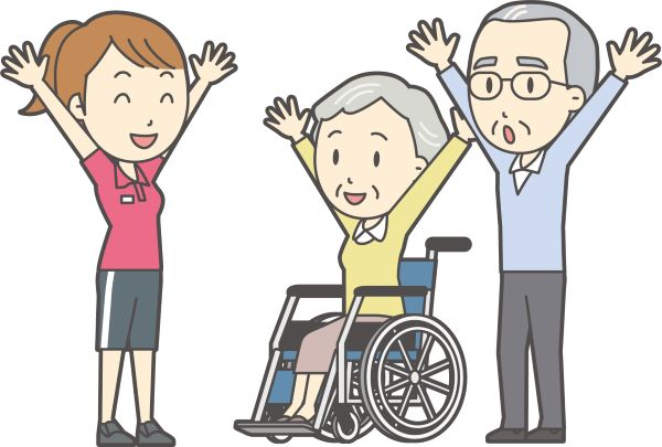 被介護者と介護士の体操風景