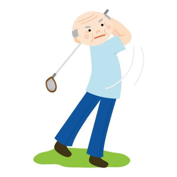 ゴルフをする老人
